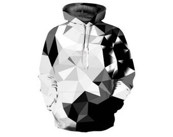 White Black Diamonds Blocks Hooded Hoodies