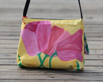Pink Tulips Hand Painted Purse - bobbinsNbrushes
