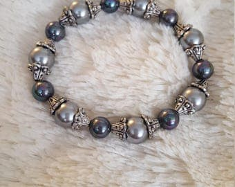 Handcrafted Gray pearl and peacock pearl beaded bracelet with silver accents, gray pearl, blue pearl, women's bracelet