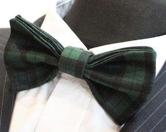 Bow Tie. UK Made.Black Green Plaid Twill Tartan Cotton.Premium Quality Pre-Tied.