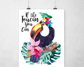 Tropical Toucan Print Palm Leaves Wall Art Home Decor