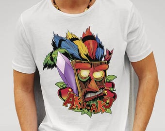 Crash Bandicoot Inspired 'Aku-Aku'  Mens White T-shirt Valanetine's gift girlfriend boyfriend gift idea