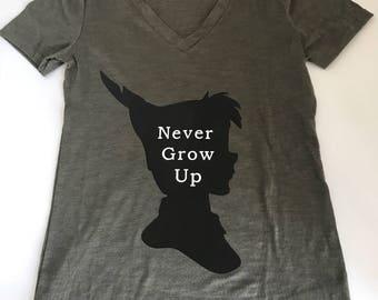 Womens V-Neck Peter Pan Never Grow Up Disney T-Shirt