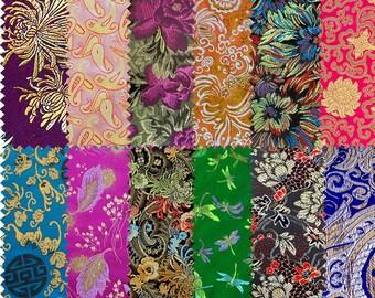 Set of 12 fabric brocade fabric patchwork E