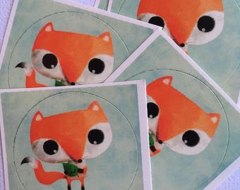 Set of 5 stickers 1.5 inch thank you for the Fox collection