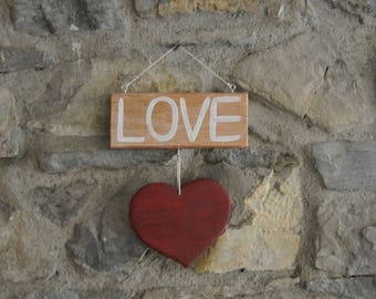 Gift Heart Love - wall decoration - wood