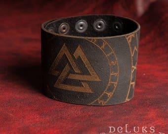 Celtic Leather Bracelet , Viking Bracelet , Men's Leather Wristband , viking Leather Bracelet , Nordic Leather Bracelet , Men's Bracelet