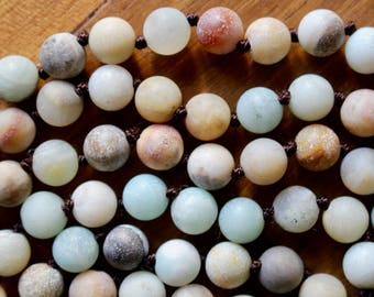 Knotted 8mm frosted Amazonite beads, 60 inches, natural stone beads, round, 80135