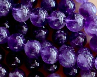 8mm Dark Amethyst beads, full strand, natural stone beads, round, 80064