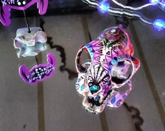Hand painted kitty cat skull, day of the dead design