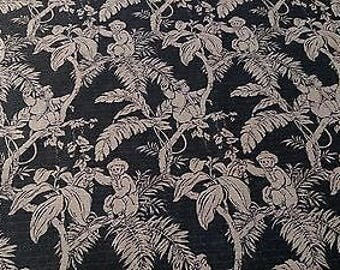"""Vintage Printed 100% Flax Linen Toile Fabric Soft Natural Fiber 56""""W Upholstery"""