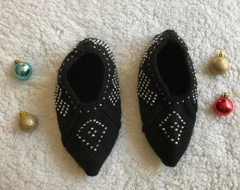 Turkish hand knitted black color winter warm slippers, slipper socks, house shoes.