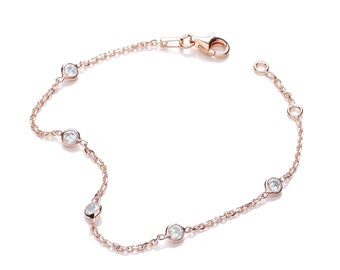 "Sterling Silver 7"" Chain Bracelet With 5 Rubover Set Cz Stones-Rose-Gold-Silver"