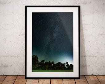 Milky Way Digital Print, Starry Sky Photography, Stars Poster, Night Starry Skies, Dark Forest, Home Deco, Printable Wall Art, Pueblo Vista