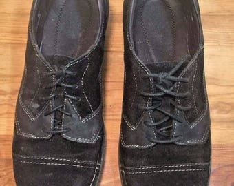 Clarks Womens Shoes 9M Cap Toe Black Suede Leather Lace Up Oxfords 67160