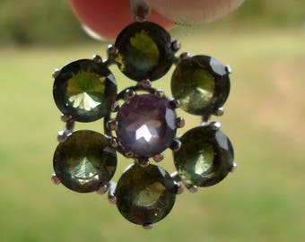 Moldavite and Amethyst Flower Of Spirit Pendant