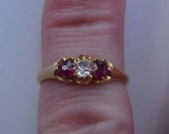 Beautiful Antique 18ct Gold Ruby And Diamond Ring Size M 1/2