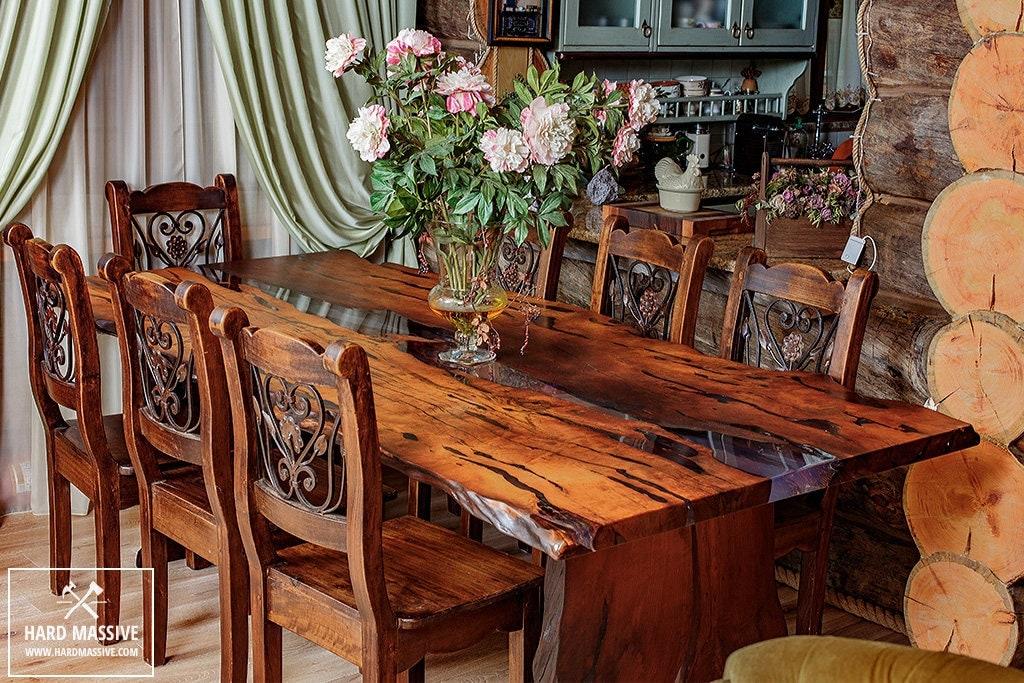 live edge dining room table. Live edge table  Dining Wood epoxy Rustic wood legs