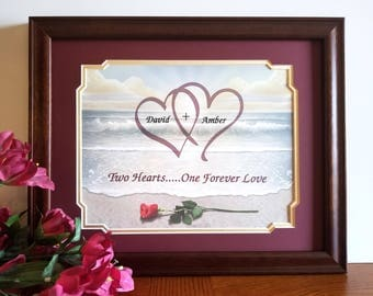 two hearts valentines day frame personalized valentines day gifts anniversary frames wedding frames - Valentines Picture Frames