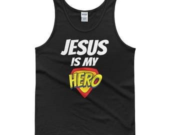 Jesus is my Hero Tank top, jesus tank top, funny tank top, i love jesus tank, christian tank top, christian tank, church tank top