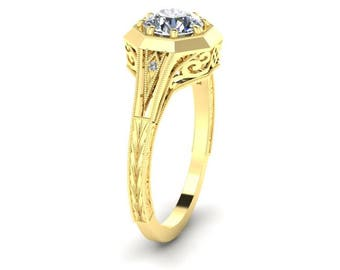 Hand Engraved, Antique Style, Diamond Ring, 14K Yellow Gold.