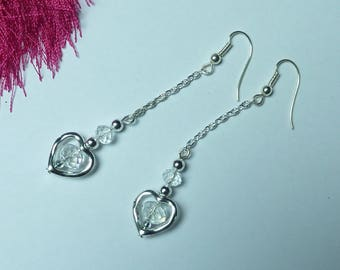 "Silver earrings ""Crystal heart"""