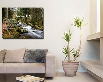 John 3:16 #14 KJV 'For God so Loved the World' Scripture Christian Wall Art, Bible Verse Canvas, Christian Canvas, Bible Verse Wall Art