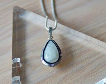 Moonstone Pendant // Moonstone // Moonstone Necklace // Sterling Silver // Teardrop Moonstone