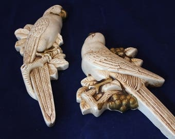 2 Vintage Chalkware Parrots on Branches and Berries Wall Art
