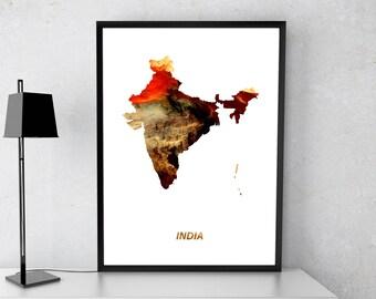 India poster, India art, India map, India print, Gift print, Poster