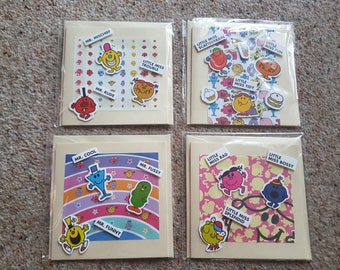 Pack of 4 Mr Men and Little Miss cards all occasions/birthday