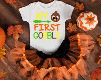 My First Gobble Onesie®, Funny Onesies®, Funny Bodysuits, Baby, Baby Clothing, Baby Girl, Thanksgiving, Baby's First Thanksgiving, Turkey