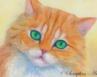 Golden Chinchilla Cat Original Oil Painting