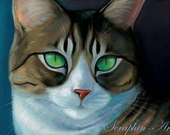 Tabby Cat Original Pastel Painting