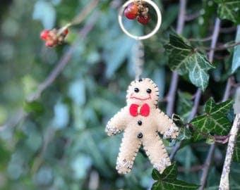 "3.5"" handmade key ring keychain Christmas ginger bread man key ring primitive key ring"