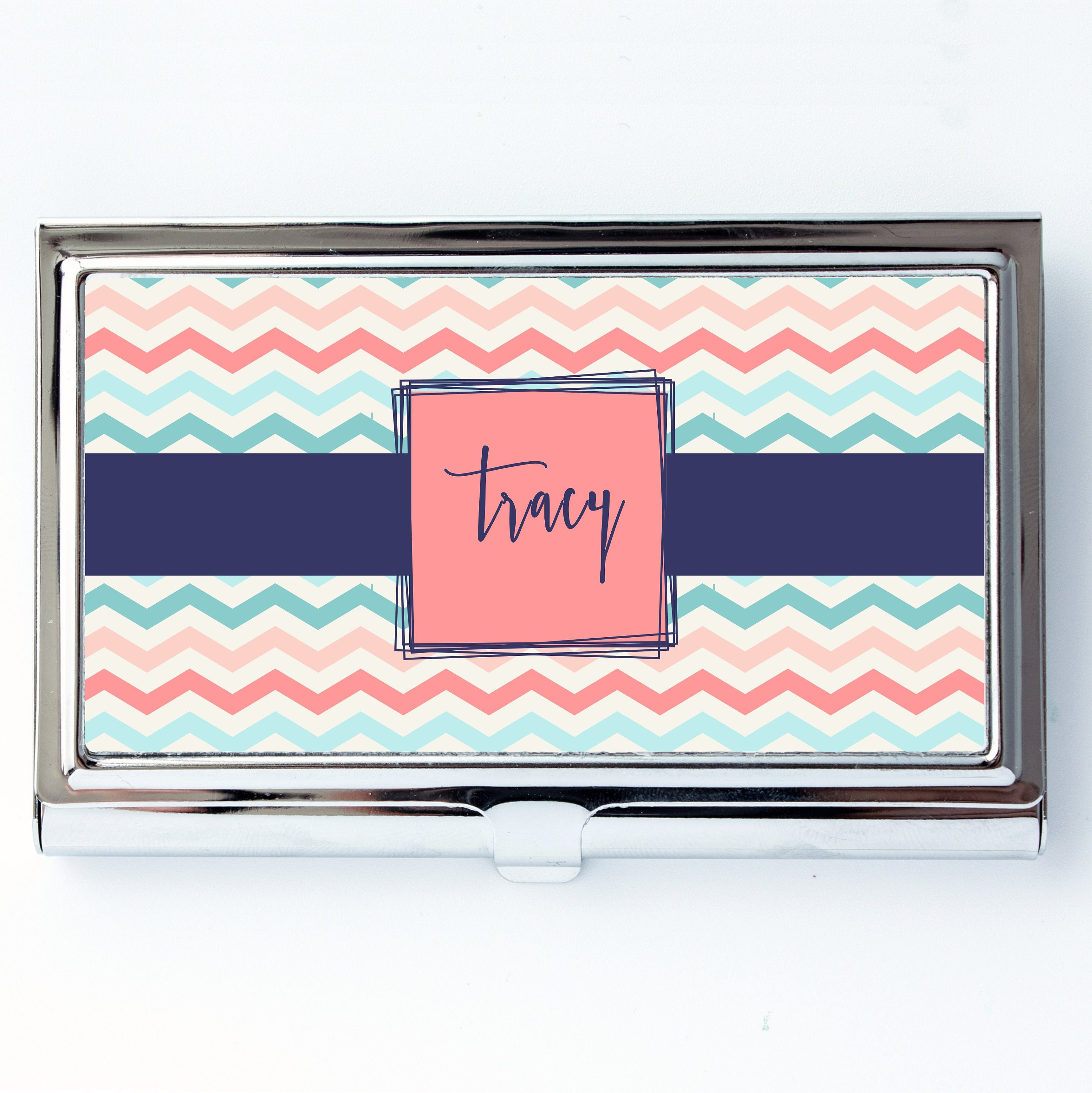 chevron personalized custom business card holder credit card case ...