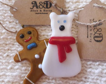 Gingerbread and Polar Bear Fused Glass Christmas Tree Ornaments Decorations
