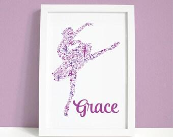 Pretty personalised ballerina print
