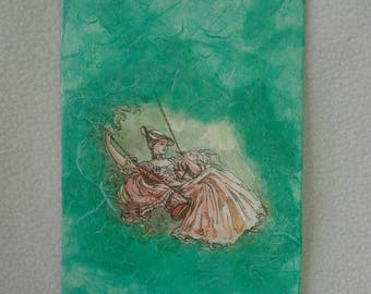 Painting, made with the technique of decoupage, depicting a lady on the swing