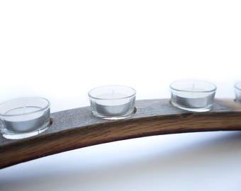 5 votive wine stave candle holder