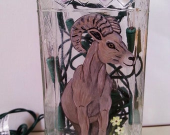 Hand Painted Glass Bottle Light, Bighorn Sheep
