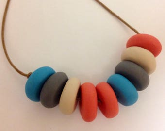Colourful clay bead necklace