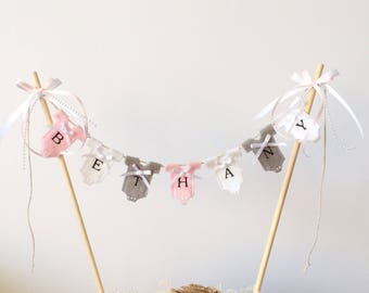 Personalised birthday cake topper. Personalised girl cake topper . Personalised baby cake topper . Personalised baby shower bunting .
