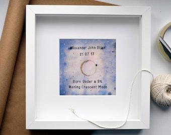 Personalised Moon Phase Illustration - Inky Blue