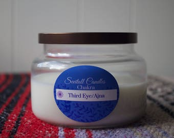 Third Eye Chakra with crystal Lapis lazuli - organic soy 8oz candle - aromatherapy - apothecary - pure essential oil