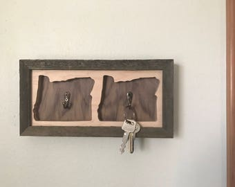 Oregon Key Holder from Reclaimed Cedar, Maple, and Apple Plywood