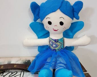 Beautiful plush fairy dolly, great for nursery, little girls, Stuffed toy, blue, blue colour, doll, fairy