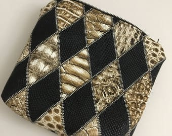 Faux reptile leather pouch