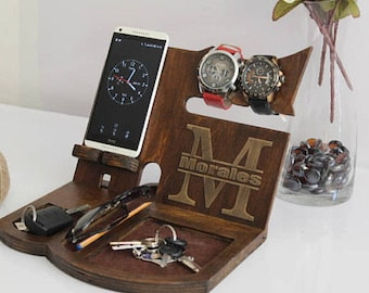 Docking station Apple watch stand wooden Christmas gifts for men Charging station organizer iWatch holder iPhone holder wood iPhone stand