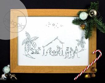 Crib, poster, print, motif print, black on white, illustration, drawing, Din A4, from a line, art print, Fine arts, Maria & Josef